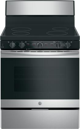 GE JB480SMSS 30 Inch Freestanding Electric Range with 4 Elements, Smoothtop Cooktop in Stainless Steel.