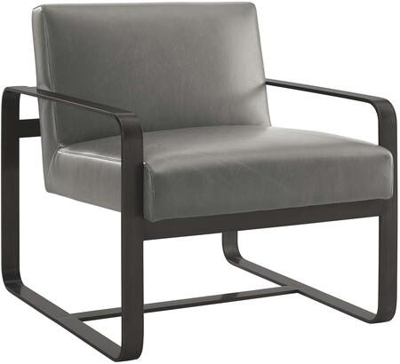 Astute Collection EEI-3072-GRY Armchair with Dense Foam Padding  Solid Wood Frame  Modern Style  Grey Stainless Steel Base and Faux Leather Upholstery in Grey