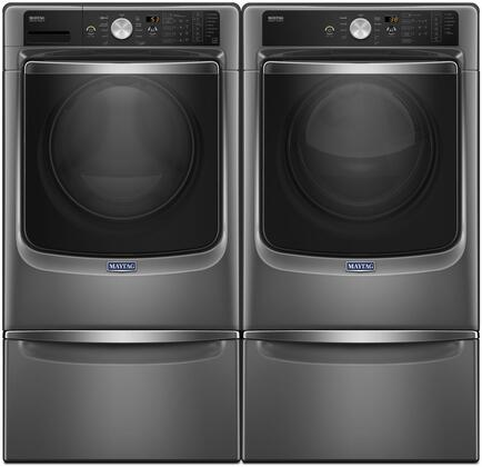 Metallic Slate Front Load Laundry Pair with MHW8200FC 27 inch  Washer  MED8200FC 27 inch  Electric Dryer and 2 XHPC155YC