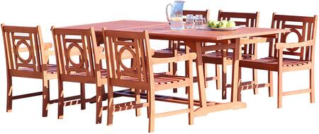 V232SET37 Malibu Outdoor 7-Piece Wood Patio Dining Set With Extension