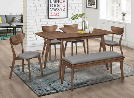 Alfredo Collection 108080-S6 6-Piece Dining Room Set with Dining Table  4 Side Chairs and Bench in Natural
