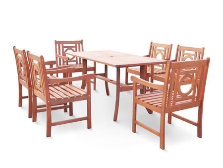 V189SET15 Malibu Eco-friendly 7-piece Outdoor Hardwood Dining Set with 1 Rectangle Table (V189) and 6 Arm Chairs