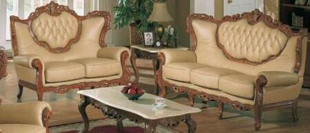 2118KHAKIS2SET Traditional 2 Piece Livingroom Set  Sofa and Loveseat in Khaki with Glossy Walnut