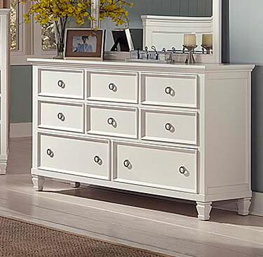 Tamarack 00-044-050 62 inch  8-Drawer Dresser with Brushed Silver Finished Hardware  European Side Mounted Drawer Glides and Molding Details in