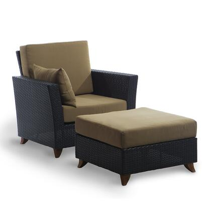 PR2530-K 2-Piece Patio Set with Rattan Deep Arm Chair and Ottoman in