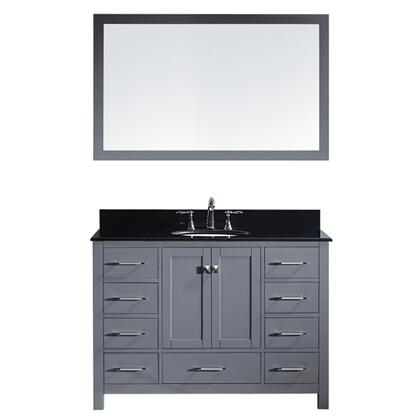 Gs-50048-bgro-gr-002 Caroline Avenue 48 Single Bathroom Vanity In Grey With Black Galaxy Granite Top And Round Sink With Polished Chrome Faucet And
