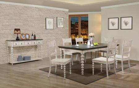 Coyana Collection 661108SET 8 PC Dining Room Set with Dining Table + Server + 6 Side Chairs in Antique White and Grey