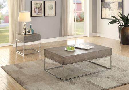 Cecil II Collection 84580SET 2 PC Living Room Table Set with Coffee Table + End Table in Grey Oak and Chrome