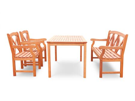 V98SET53 Malibu Eco-friendly 4-piece Outdoor Hardwood Dining Set with Rectangle Table  5-foot Bench and Arm