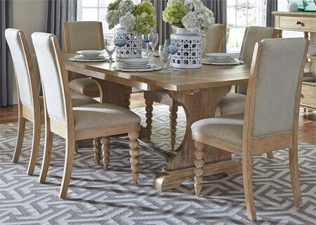 Harbor View Collection 531-DR-O7TRS 7-Piece Dining Room Set with Trestle Table and 6 Upholstered Side Chairs in Sand