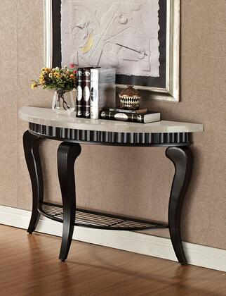 80073 Lorencia Sofa Table with White Marble Top and Black with Gold Brushed
