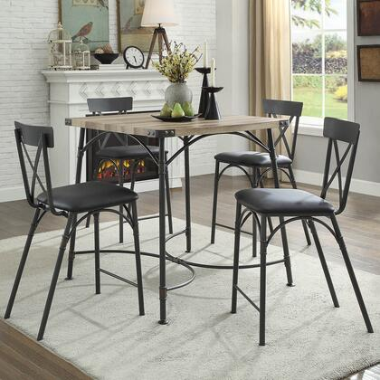 Itzel Collection 720854SET 5 PC Bar Stool Set with Square Shaped Counter Height Table and 4 PU Leather Uphosltered Seat Counter Height Chairs in Antique Oak