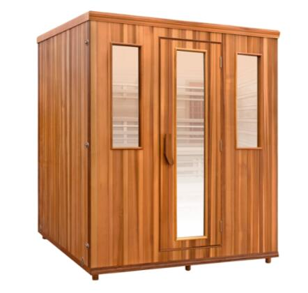 The HM-FSE-5-CD-CL Elevated Health Sauna with Two Rows of Bench Seating and a Sound