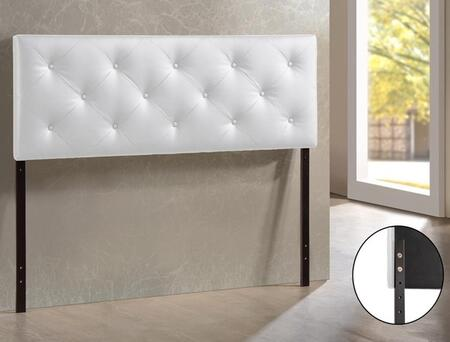 Baxton Studio BBT6431-White-HB-Full Bedford Headboard with Button-Tufting  Foam Padding  Rubberwood Frame and Faux Leather Upholstery in