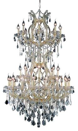 2800D36SG/SA 2800 Maria Theresa Collection Large Hanging Fixture D36in H56in Lt: 32+2 Gold Finish (Swarovski Spectra
