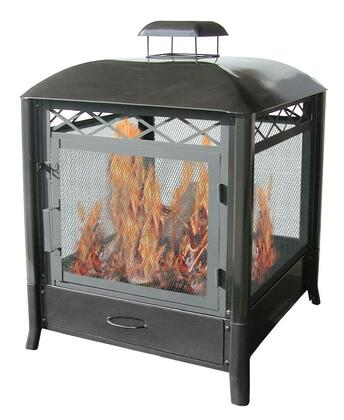 28107 The Apen 25 Outdoor Fireplace with Hinged Door  Removable Ash Drawer  Tubular Legs and Steel Construction in Black