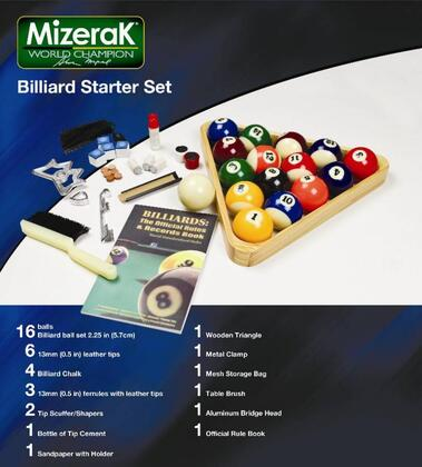 P0530 Billiard Starter Kit with a 2.25 Ball Set  Six 13mm Leather Tips  Four Pieces of Billiard Chalk  Three 13mm Ferrules  Two Tip Scuffer/Shaper and Bottle