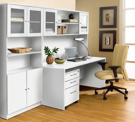 1C100006MWH White Executive Office Desk with Hutch &
