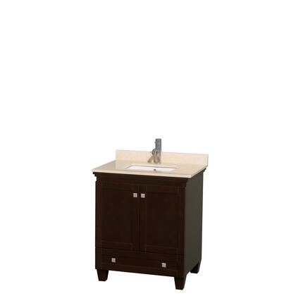 WCV800030SESIVUNSMXX 30 in. Single Bathroom Vanity in Espresso  Ivory Marble Countertop  Undermount Square Sink  and No