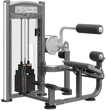 E-4877 Titanium Series 9332 Back Extension Machine with 200 lbs. Incremental Weight Stack  Military Grade Cables and High-Tech Oval Tubing in Black and
