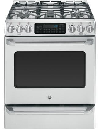 C2S985SETSS 5.4 cu. ft. Slide-In Dual-Fuel Range with 5 Burners  Convection Oven  Baking Drawer  Non-Stick Griddle  Electronic Ignition and Center Oval Burner