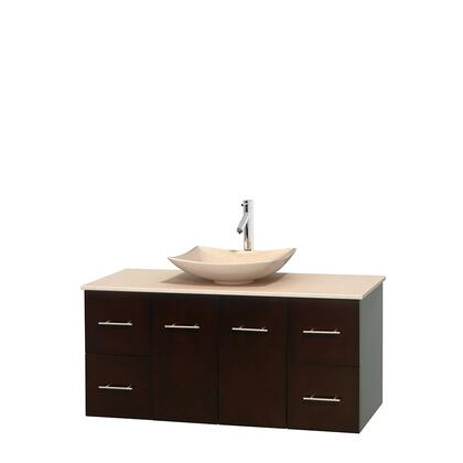 WCVW00948SESIVGS5MXX 48 in. Single Bathroom Vanity in Espresso  Ivory Marble Countertop  Arista Ivory Marble Sink  and No