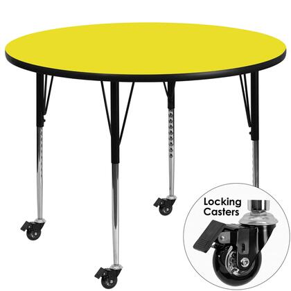 XU-A48-RND-YEL-H-A-CAS-GG Mobile 48'' Round Activity Table with 1.25'' Thick High Pressure Yellow Laminate Top and Standard Height Adjustable