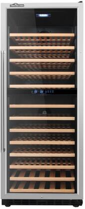 HWC2408U 24 inch  Built-In Dual Zone Wine Cooler with 13 Wooden Shelves  R600a Refrigerant  133 Wine Bottle Capacity  and ETL Listed  in Stainless
