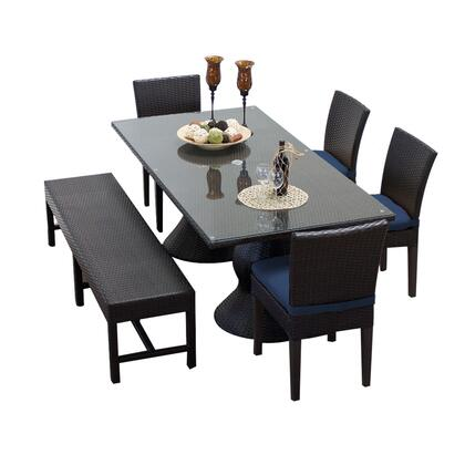 NAPA-RECTANGLE-KIT-4C1B-C-NAVY Napa Rectangular Outdoor Patio Dining Table With 4 Chairs and 1 Bench with 2 Covers: Wheat and