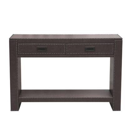 DSD153103561 Brown Faux Leather Drawer Console With Nail Head Trim