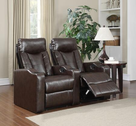 Camden Collection 2 Seat Recliner Theater Set with Sinuous Seat Spring  Grade Deluxe Foam Cushions  Wood Frame and Bonded Leather Upholstery in Brown