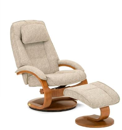 Oslo Collection 52-36-103 19 inch  Bergen Recliner and Ottoman with Swivel Function  Memory Foam Seating  Adjustable Headrest and Linen Fabric Upholstery in Teatro
