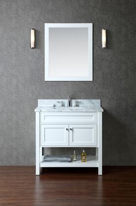 SCMAY36SWH Mayfield 36 Single-Sink Bathroom Vanity Set with Marble Top  Bottom Shelf  Block Feet and Mirror in
