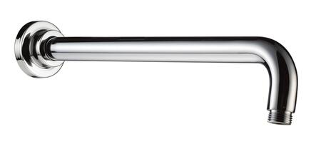 AB16WR-PC Wall Mounted Round Shower Arm with Brass  Extended Length  Standard Threading Dimensions and Extra-Long Curved Gooseneck Arm In Polished