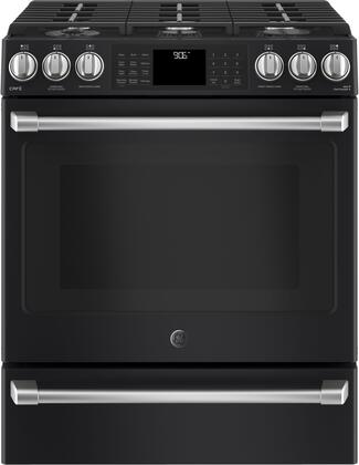 C2S986EELDS 30 inch  Slide in Front Control Dual Fuel Range with Warming Drawer  6 Sealed Burners  4.5 cu. ft. Oven Capacity  in Black