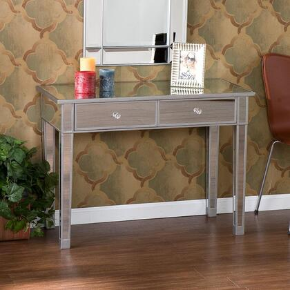 CM9163R Mirage Mirrored 2-Drawer Console Table With Two Drawers  Painted Silver Wood Trim & In Mirrored