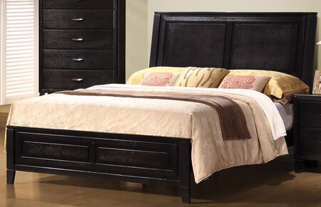 Nacey Collection 201961KE King Size Panel Bed with Clean Line Design  Tapered Legs  Low Profile Footboard  Hardwood and Veneer Construction in Dark