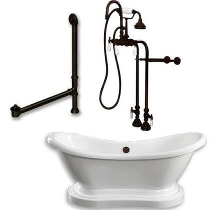 ADES-PED-398684-PKG-ORB-NH Acrylic Double Ended Pedestal Slipper Bathtub 68 inch  x 28 inch  with No Faucet Drillings and Complete Oil Rubbed Bronze Plumbing