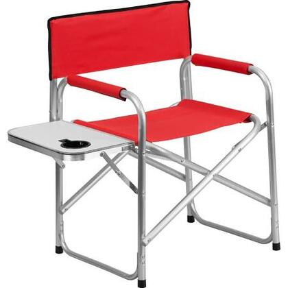TY1104-RED-GG Aluminum Folding Camping Chair with Table and Drink Holder in