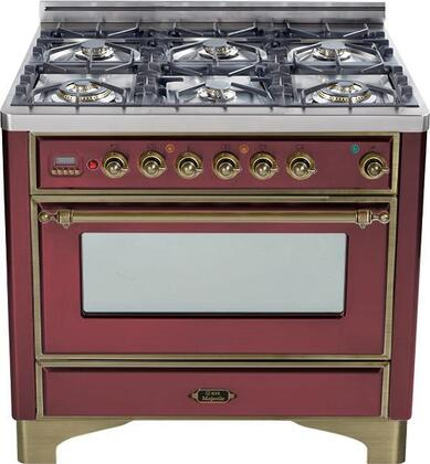 "UM-906-DMP-RB-Y 36"" Majestic Series Dual Fuel Range with 3.55 cu. ft. Oven Capacity  6 Burners  Electronic Ignition  Digital Clock and Timer  and Oiled Bronze"