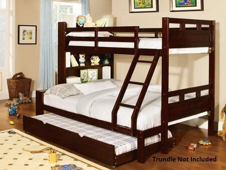 Fairfield Collection CM-BK459EX-F-BED Twin Over Full Size Bunk Bed with Front Access Step  Attached Ladder  10 PC Slats Top/Bottom  Solid Wood and Wood Veneers