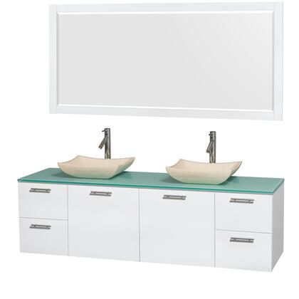 Wcr410072dgwgggs2m70 72 In. Double Bathroom Vanity In Glossy White  Green Glass Countertop  Avalon Ivory Marble Sinks  And 70 In.