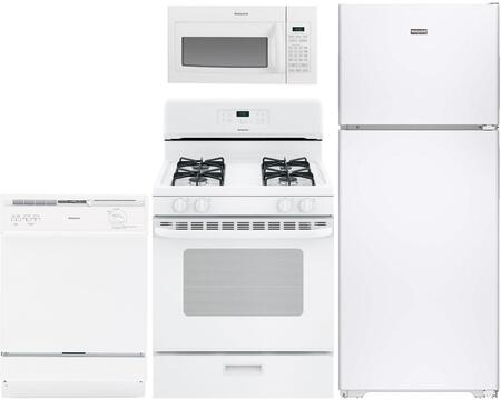 4-Piece White Kitchen Package with HPE15BTHWW 28 inch  Top Freezer Refrigerator  RGB518PCHWH 30 inch  Freestanding Gas Range  RVM5160DHWW 30 inch  Over the Range Microwave