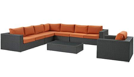 Sojourn Collection EEI-2013-CHC-TUS-SET 7-Piece Outdoor Patio Sunbrella Sectional Set with Left Arm Facing Loveseat  2x Armless Chairs  Corner Chair  Right Arm