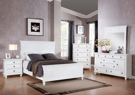 Merivale 22417EK5PC Bedroom Set with Eastern King Size Bed + Dresser + Mirror + Chest + Nightstand in White