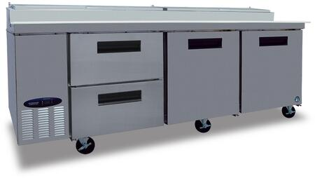 CPT93-D2 93 inch  Commercial Series Pizza Prep Table with 2 Drawers  2 Doors  Stainless Steel Exterior and Interior  30 cu. ft. Capacity  14 Gauge Drawer Slides and