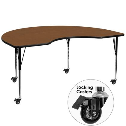 XU-A4872-KIDNY-OAK-H-A-CAS-GG Mobile 48''W x 72''L Kidney Shaped Activity Table with 1.25'' Thick High Pressure Oak Laminate Top and Standard Height Adjustable