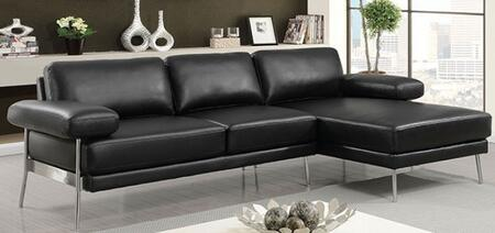 Eilidh CM6422BK-SECT Sectional Sofa with Stitched Details  Pillow Top Arms and Breathable Leatherette Upholstery in