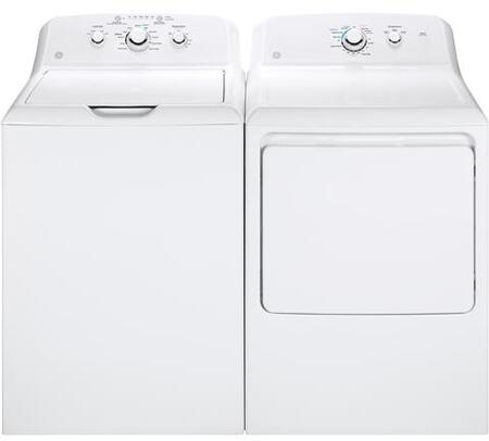 "White Laundry Pair with GTW330ASKWW 27"""" Top Load Washer and GTX33GASKWW 27"""" Front Load Gas"" 695448"