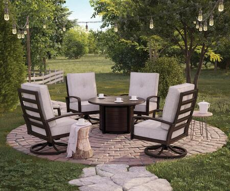 Castle Island Collection P414-776SET 5-Piece Patio Set with Round Fire Pit Table and 4 Swivel Lounge Chairs in Dark Brown and